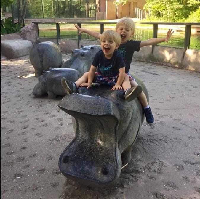 Kids enjoying the hippos
