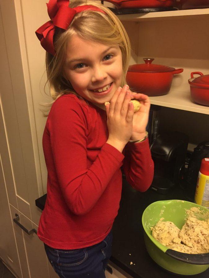 Cosette baking snowballs