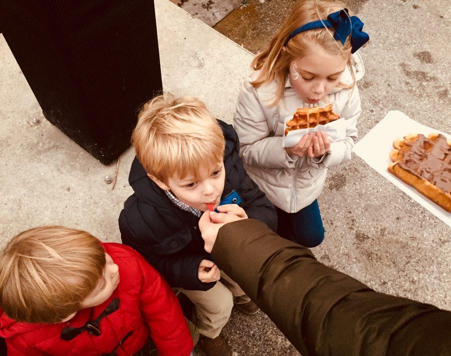 Kids enjoying their Belgium Waffles