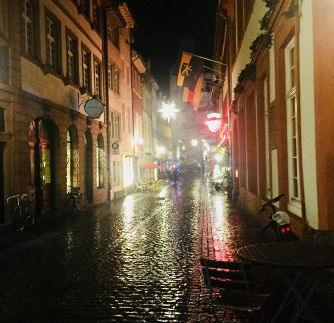Stepping onto the shimmering cobblestones