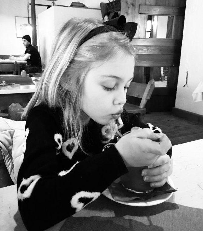 Enjoying the hot cocoa